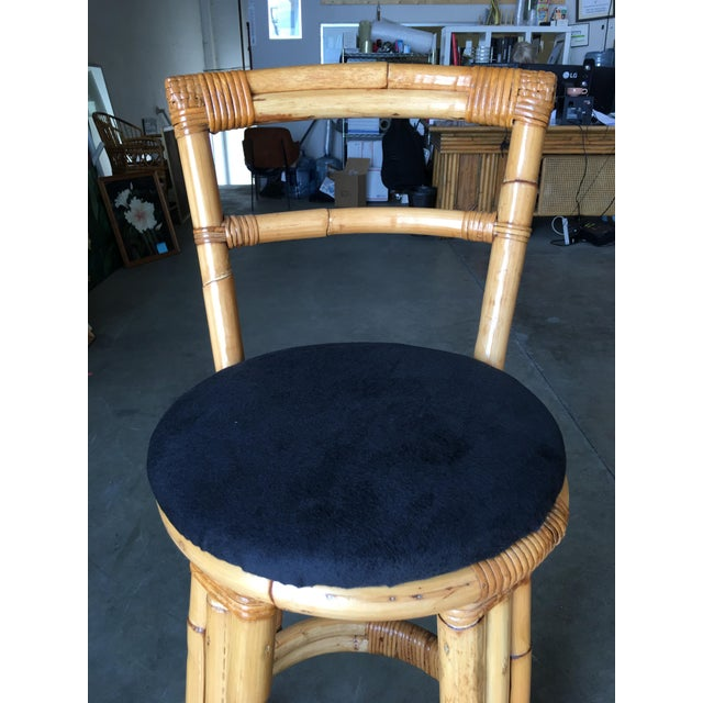 Restored Three Strand Rattan Bar Stool W/ Pole Rattan Back, Pair For Sale In Los Angeles - Image 6 of 8
