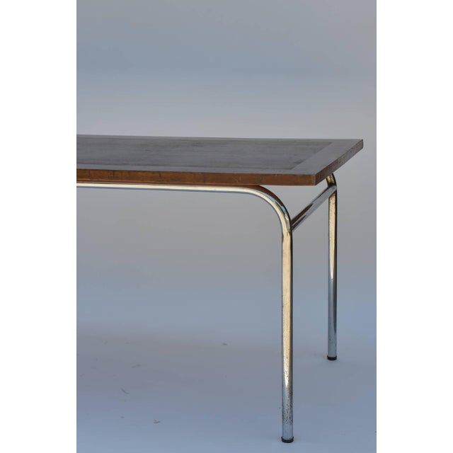 Set of Four French Modernist Rectangular Chrome and Mahogany Tables For Sale - Image 4 of 7