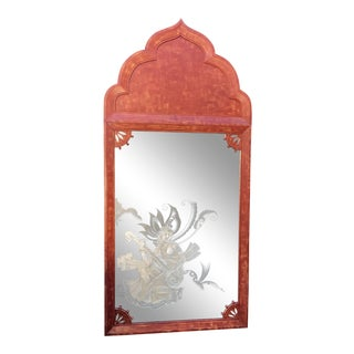 Huge Tony Duquette Red Keyhole Mirror W Etched Nude Maiden - Signed Bombay India C.1930 For Sale