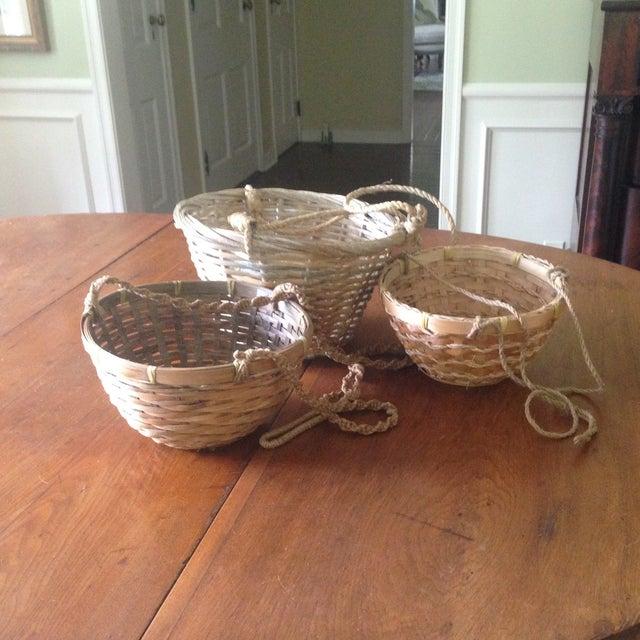 Vintage Hanging Wicker Baskets - Set of 3 - Image 9 of 11