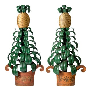 Large Italian or French Tole Pineapple Sconces, A-Pair For Sale