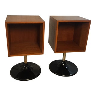 Lucite and Chrome Base Cabinets - A Pair For Sale