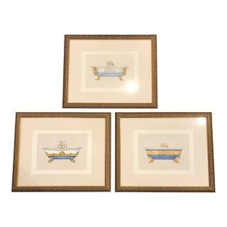 Framed Bathtub Drawings - Set of 3 For Sale