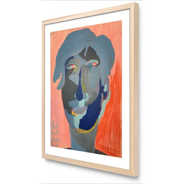 """Abstract Contemporary Abstract Portrait Painting """"Is He Ready to Go - No. 3"""" - Framed For Sale - Image 3 of 12"""