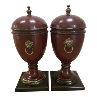 Mid-20th Century Hollywood Regency Lions' Head Handle Burgundy Lidded Urns - a Pair