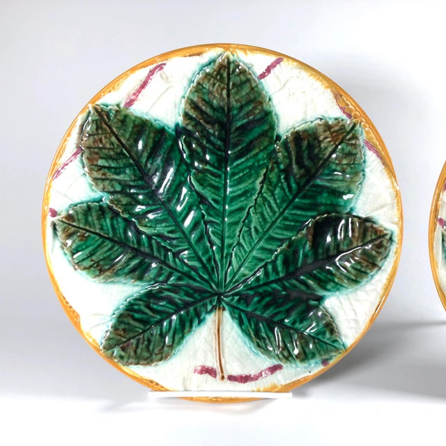 "A wonderful pair of English Aesthetic Movement ""Horse Chestnut Leaf & Napkin"" plates by the most coveted maker of majolica..."