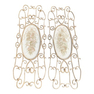 Shabby Chic French Victorian Iron Scrollwork 4 Ft Tall Wall Hanging- a Pair For Sale
