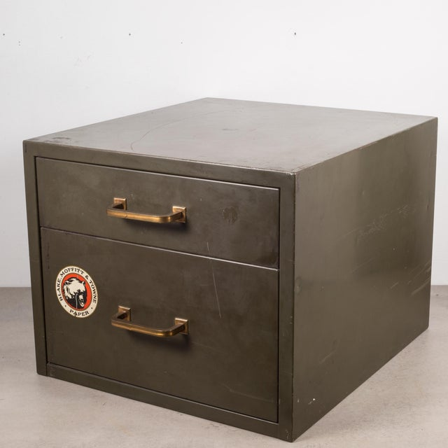 Industrial Factory Two Drawer Cabinet With Brass Pulls C.1940 For Sale In San Francisco - Image 6 of 12