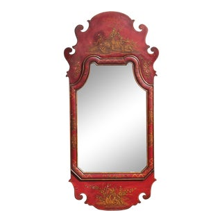 Asian Motif Mid Century Red Wall Mirror For Sale