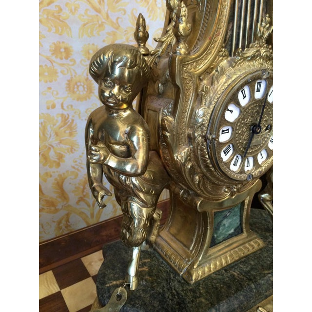 Rococo Louis XVI French Marble & Bronze Mantel Clock For Sale - Image 4 of 6