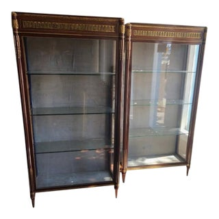 French Antique Mahogany Cabinets with Brass Ormolu Mounts - A Pair For Sale