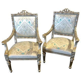 Versace Signed Pair of French Silver Gilt 1920s Louis XVI Style Armchairs For Sale
