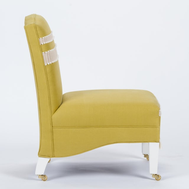 English Casa Cosima Sintra Chair in Citron Linen For Sale - Image 3 of 9