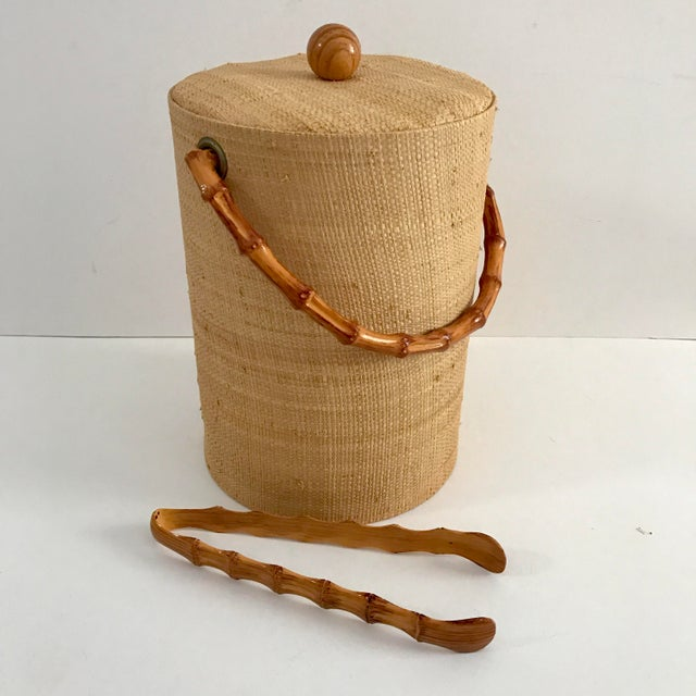 Vintage Grasscloth Ice Bucket With Faux Bamboo Tongs - A Pair - Image 2 of 7