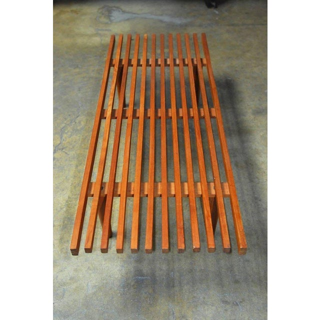 Mid-Century Modern Low Slat Wood Bench Coffee Table For Sale - Image 5 of 9