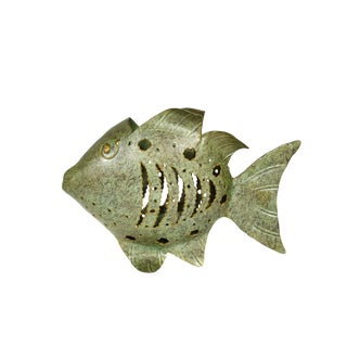 Cutout Metal Green Gold Fish Tealight Candle Holder For Sale