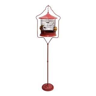 Free Standing Bird Cage Made in Occupied Japan C.1945-1952 For Sale
