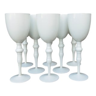 French Opaline Hand Blown Glass Stemware - Set of 8 For Sale