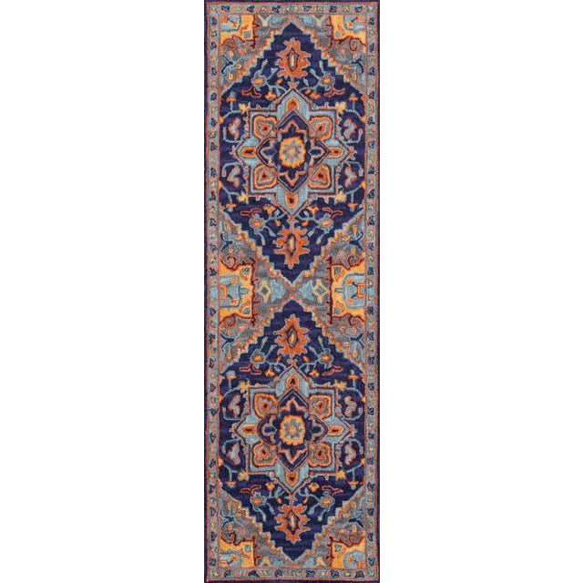"""Textile Ibiza Navy Hand Tufted Area Rug 2'3"""" X 7'10"""" Runner For Sale - Image 7 of 7"""