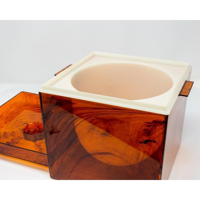 Plastic Mid Century Tortoise Lucite Ice Bucket For Sale - Image 7 of 11