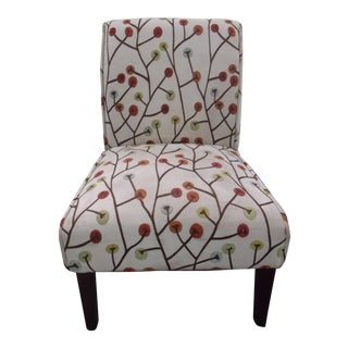 1990s Contemporary Patterned Beige Upholstered Slipper Chair