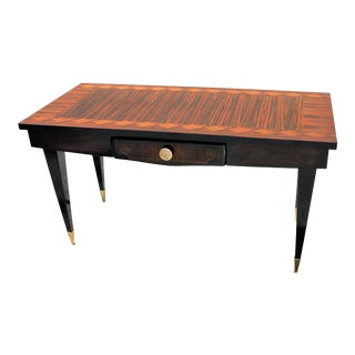 French Art Deco Exotic Macassar Ebony Mother-of-Pearl Writing Desk, circa 1940s.