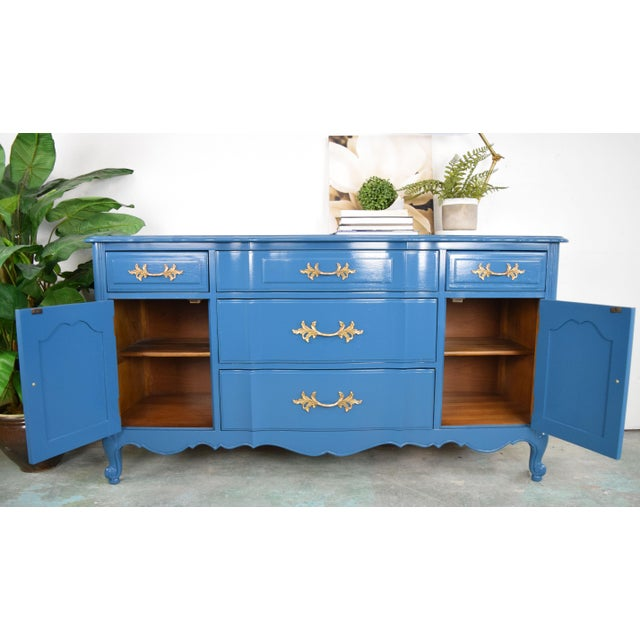 19th Century French Provincial Thomasville Blue Sideboard For Sale - Image 12 of 13