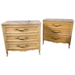 Pair of Louis XV Style Grosfeld House Marble-Top Distressed Four-Drawer Commodes For Sale