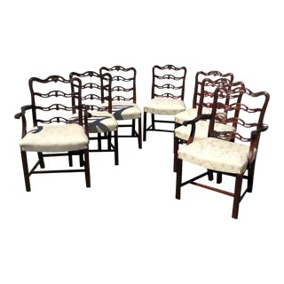 1950s Vintage Mahogany Chippendale Style Dining Chairs- Set of 7 For Sale