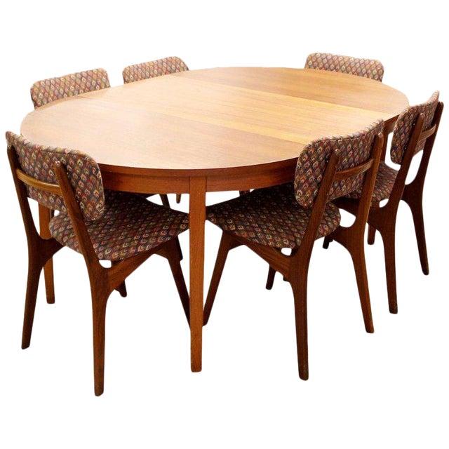 Mid-Century Danish Modern Arne Hovmand Olsen Teak Oval Dining Set For Sale