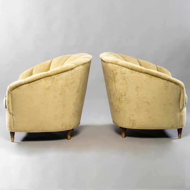 Brass Coquille Form Sofa and Pair of Chairs Attributed to Paolo Buffa For Sale - Image 7 of 13