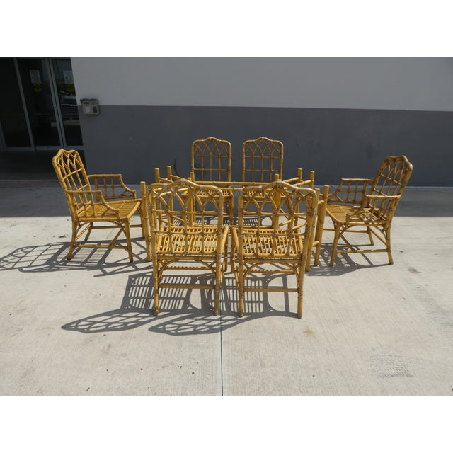 Classic Chinese Chippendale Rattan Dining Room Table Base with 6 Pagoda Top Dining Chairs For Sale - Image 13 of 13