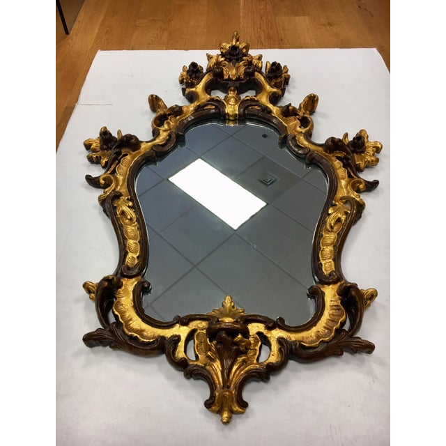Wood Rococo Style Ornate Carved Giltwood Shield Wall Mirror For Sale - Image 7 of 13