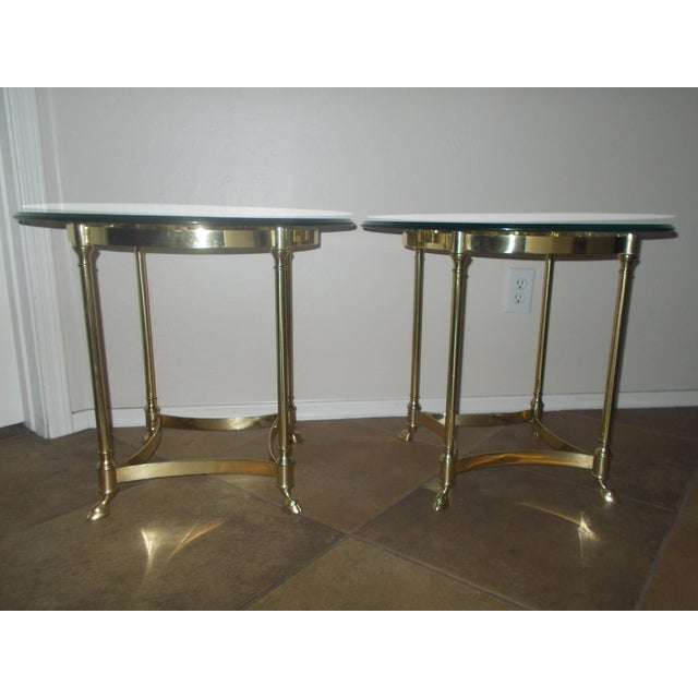 La Barge Glass & Brass End Table - A Pair - Image 2 of 5