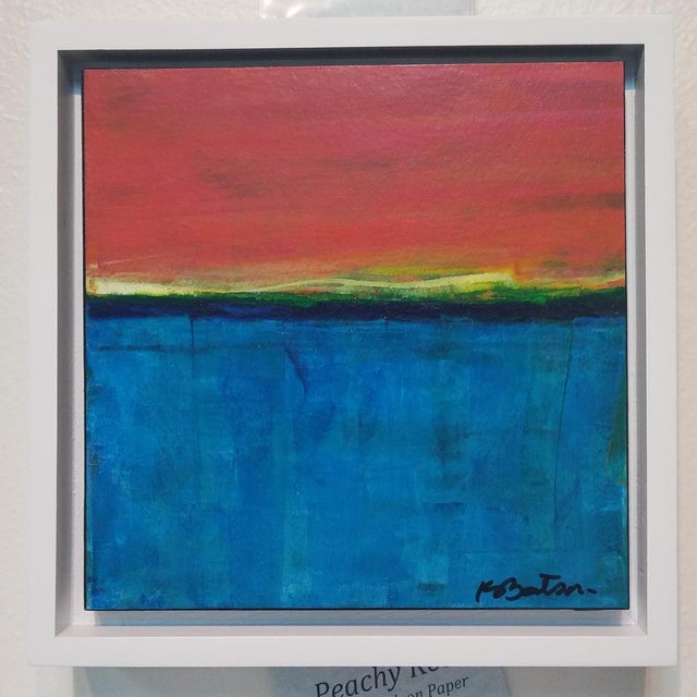 """Abstract Kelley Batson Howard """"Peachy Keen"""" Painting For Sale - Image 3 of 3"""