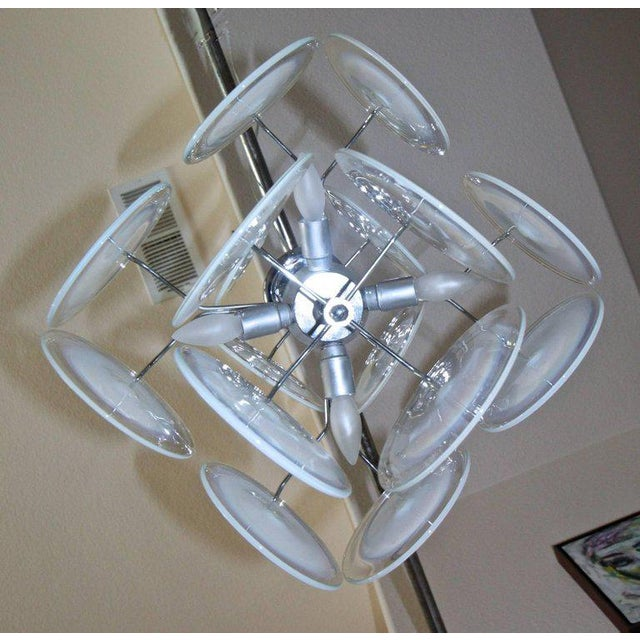 Blown Glass Vistosi Murano Clear & Opalescent Glass Disc Chandelier Pendant Light For Sale - Image 7 of 13