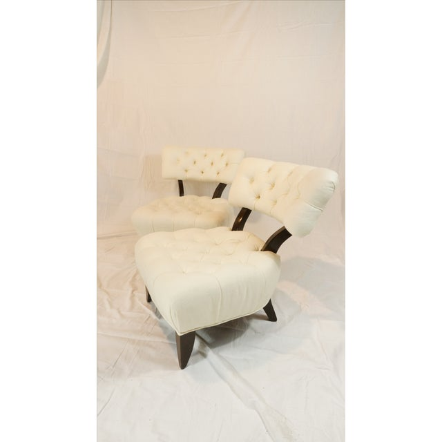 Billy Haines Style Tufted Lounge Chairs - A Pair - Image 2 of 7