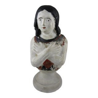 19th Century Pennsylvania Hand-Painted Folk Art Chalkware Female Bust For Sale