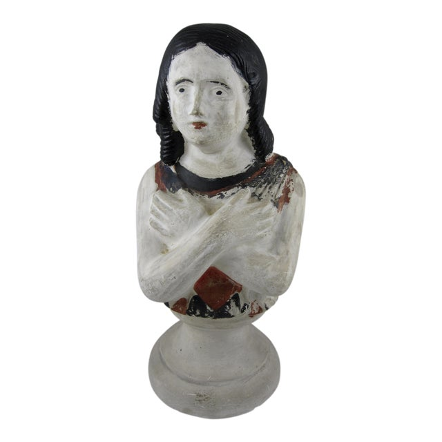 19th Century Pennsylvania Hand-Painted Folk Art Chalkware Female Bust For Sale