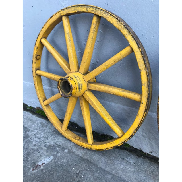 Folk Art Painted Wagon Wheels - a Pair For Sale In San Francisco - Image 6 of 7