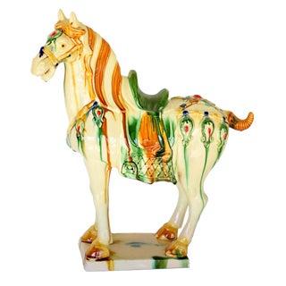 Modern White Majestic Terracotta Horse Sculpture For Sale