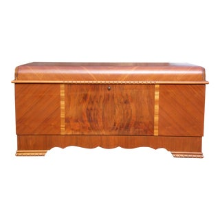 Antique LANE Art Deco Waterfall Cedar Hope Chest Storage Trunk