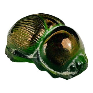 Lalique Crystal Green Scarab Beetle Paperweight, Circa 1970's For Sale