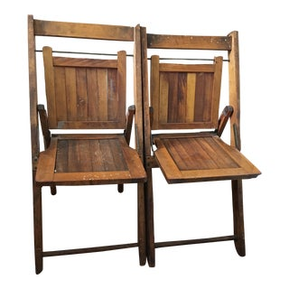 Antique Wooden Child's Folding Chairs - A Pair
