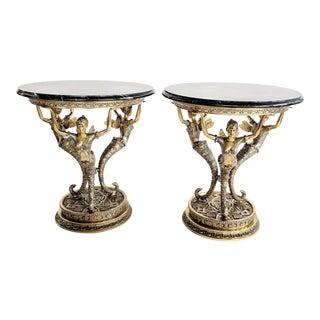 Art Nouveau Bronze Mythical Fairy Figural Tables - A Pair
