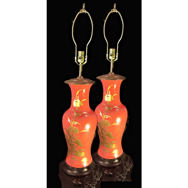 1960's Vintage Asian Influenced Fire Red Orange Table Lamps- A Pair For Sale - Image 12 of 12