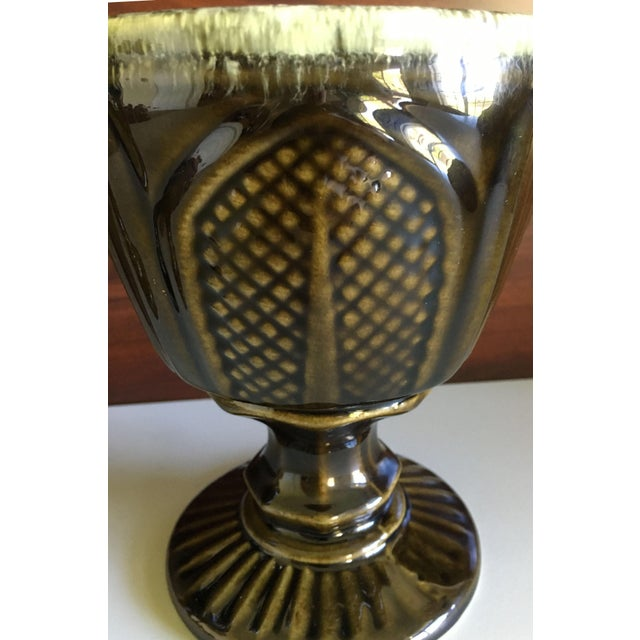 Mint Hull Pottery Brown and Green Glazed Chalice and Footed Pitcher - a Pair For Sale - Image 8 of 13