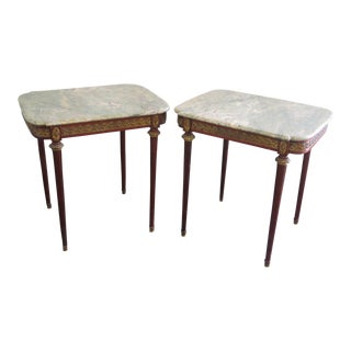 Late 20th Century Directoire Style Marble Top End Tables - a Pair For Sale