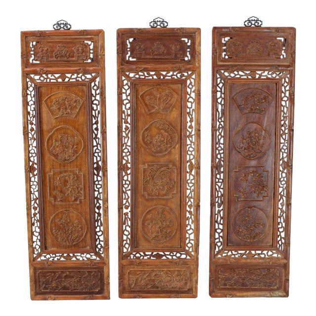 Brown 1920s Asian Carved Wall Panels - Set of 3 For Sale - Image 8 of 8