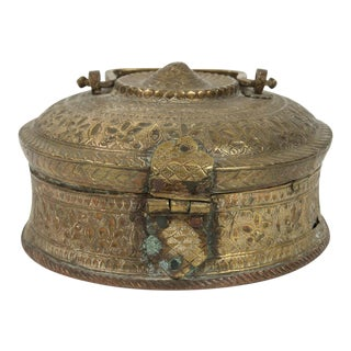 Turkish Brass Box With Lid For Sale
